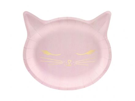 Pink & Gold Cat Party Plates